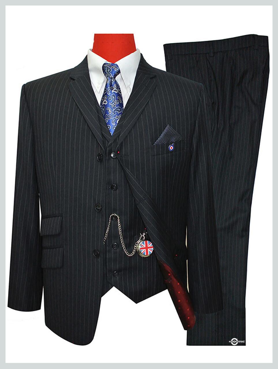 Pinstripe Suit| Classic Black Pin Stripe Three Piece Suit 60s Mod Style Tailored