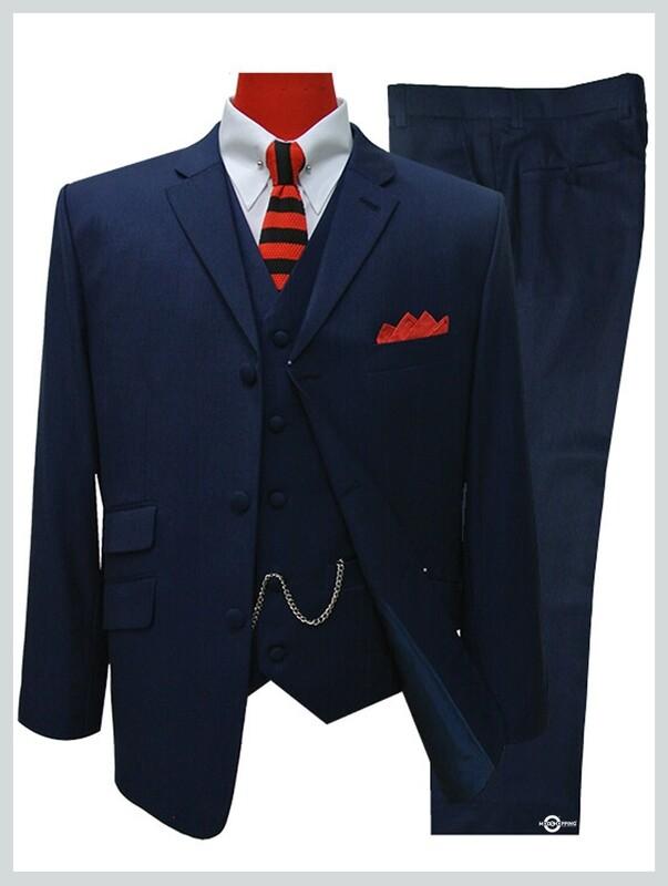 Essential Navy Blue 3 Piece Suit|60s Mod Suit 3 Button Tailored Suit