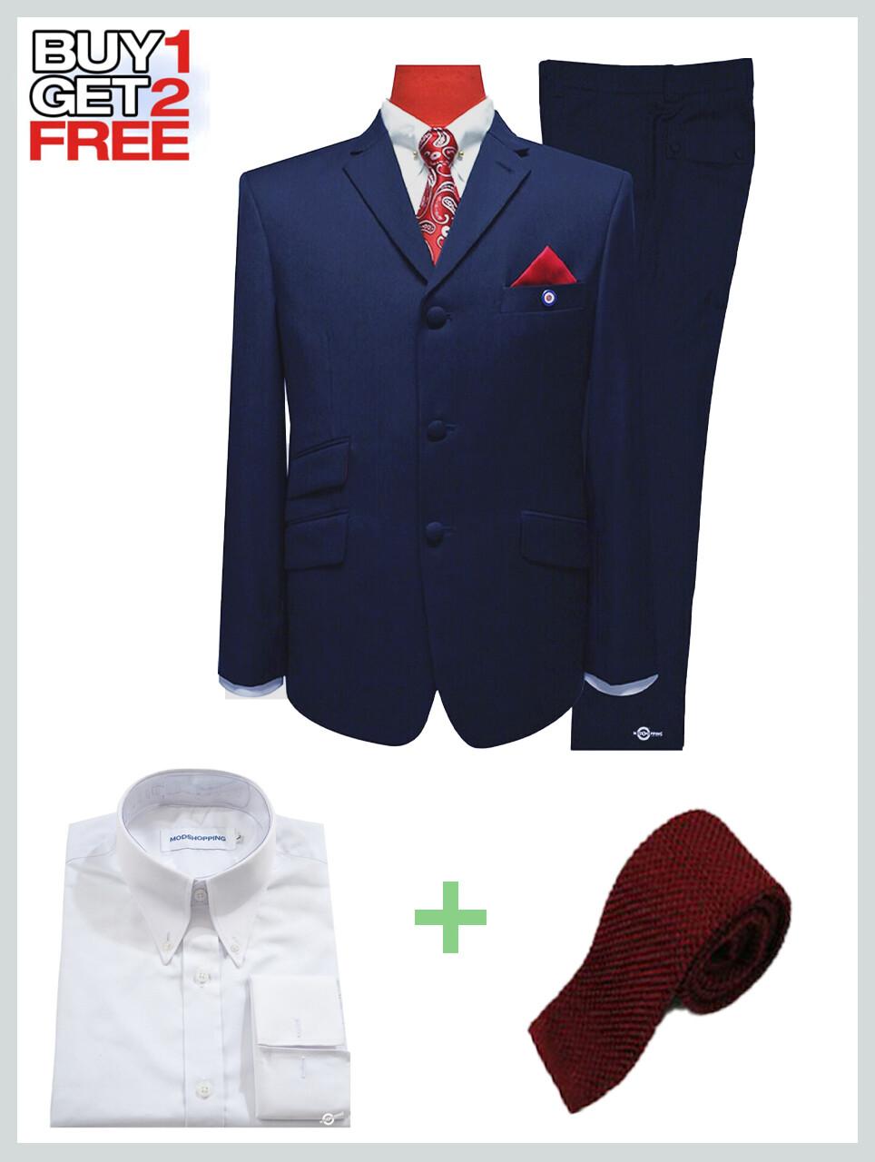 2 Piece Suit Package | Navy Blue Mod Suit.