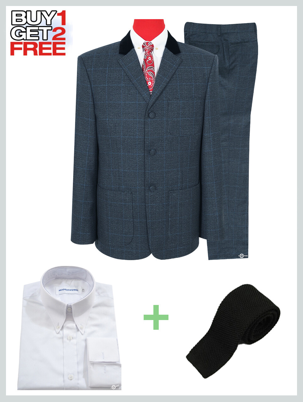 2 Piece Suit Package | Charcoal Grey Tweed Pow Check Suit.