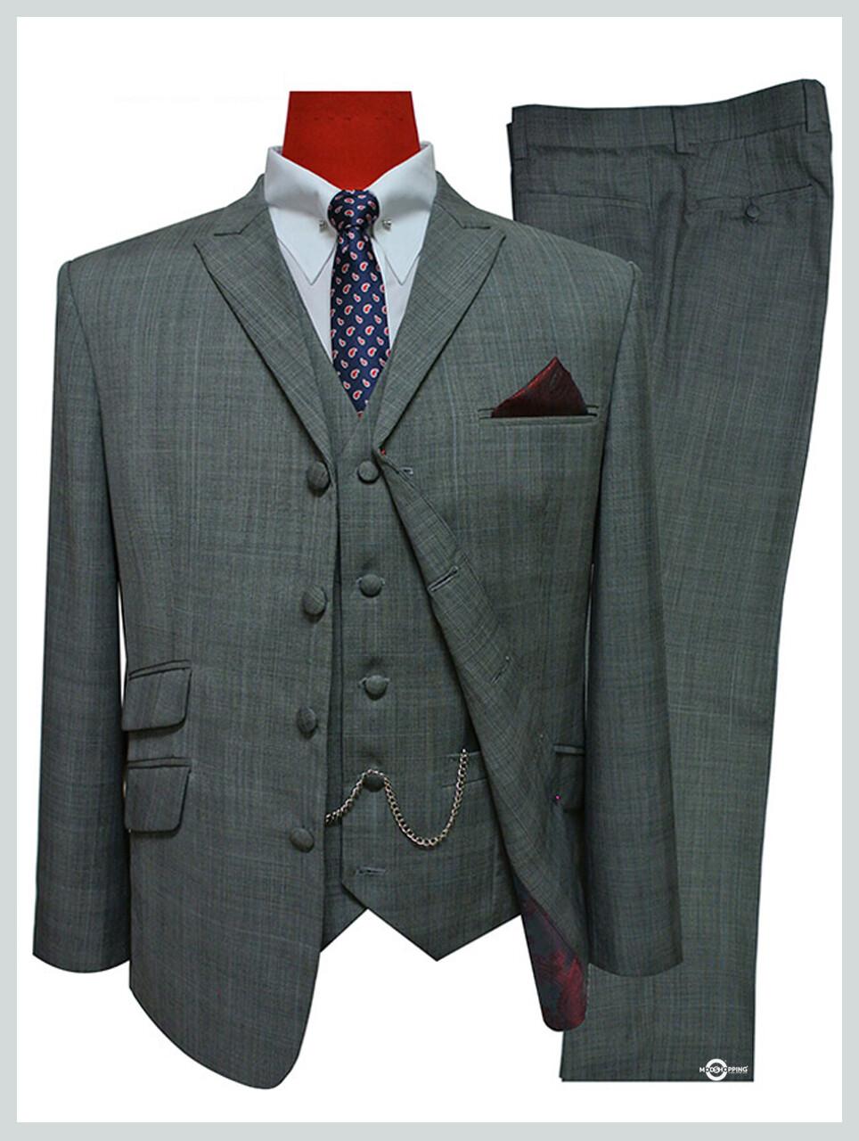 3 Piece Suit | Tailored 60s Mod Pale Grey Color Suit