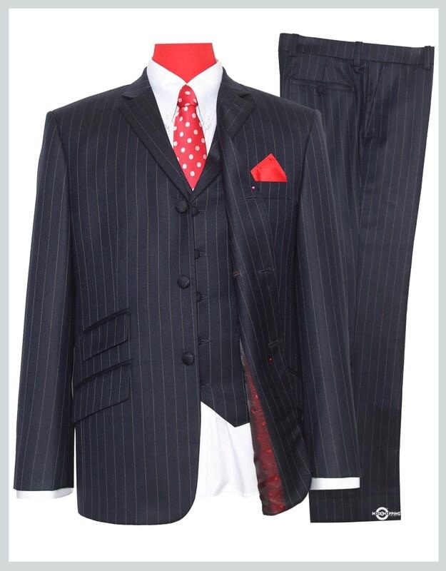Pinstripe 3 Piece Navy Blue Suit|60s Mod Style Pinstripe Suit,Tailored