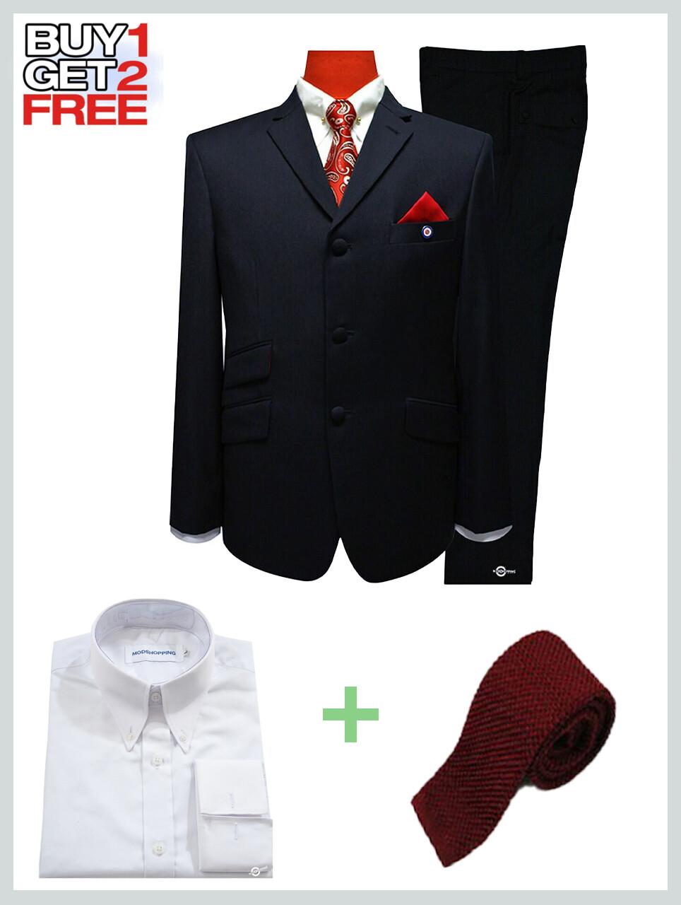 Suit Package | Tailored 3 Button Black Mod Suit For Men.