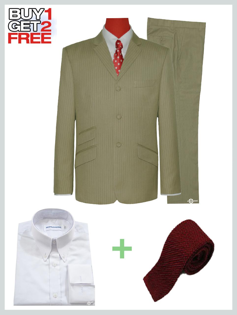 2 piece Suit Package | Khaki Pinstripe Suit For Men's.