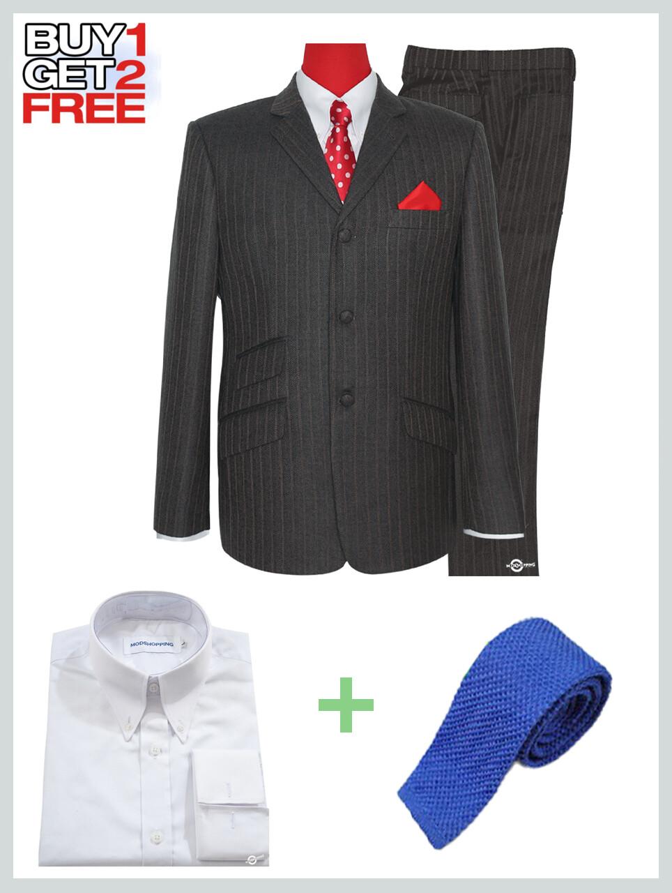 2 Piece Suit Package | Brown Grey  Herring Bone Suit For Man