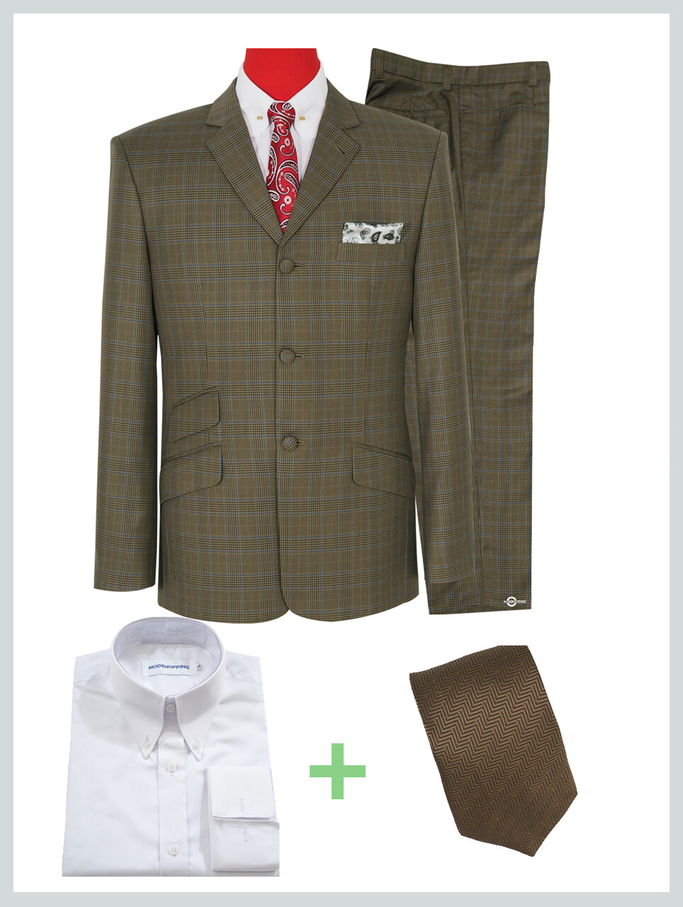 Suit Package Dark Khaki Pow Check Suit For Man. | Buy 1 Free 2