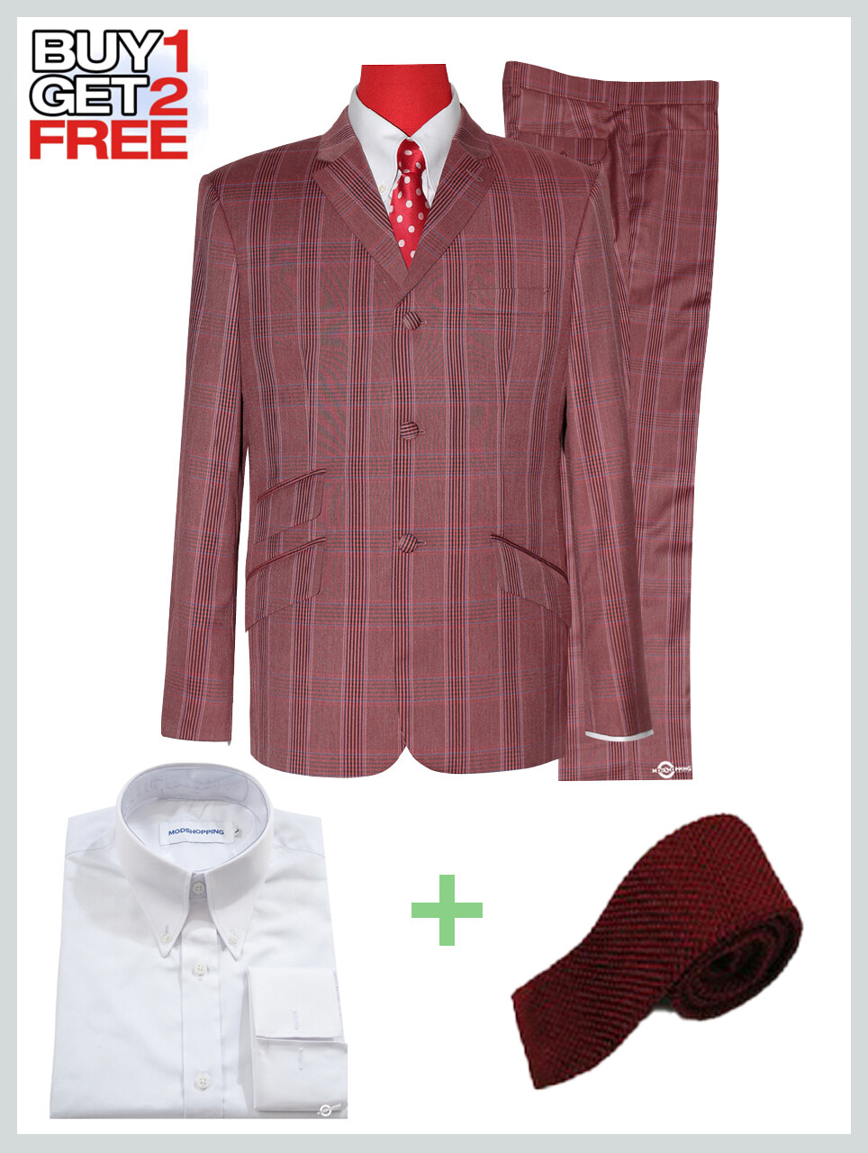 2 Piece Suit Package | Burnt Red Prince OF Check Suit For Man.