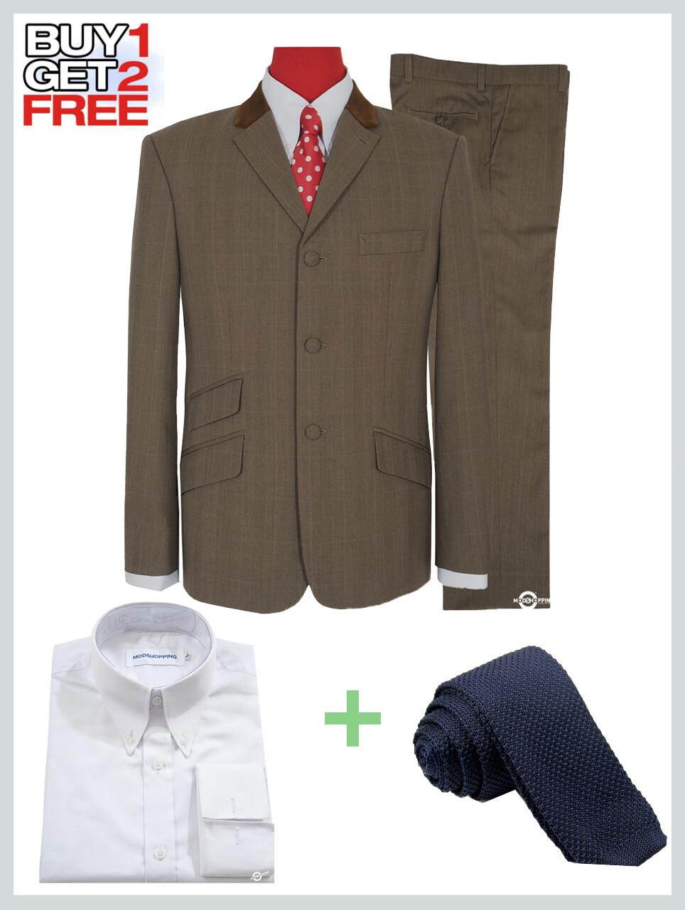 2 Piece Suit Package | Brown & Grey Contrast Pow Check Suit For Men.