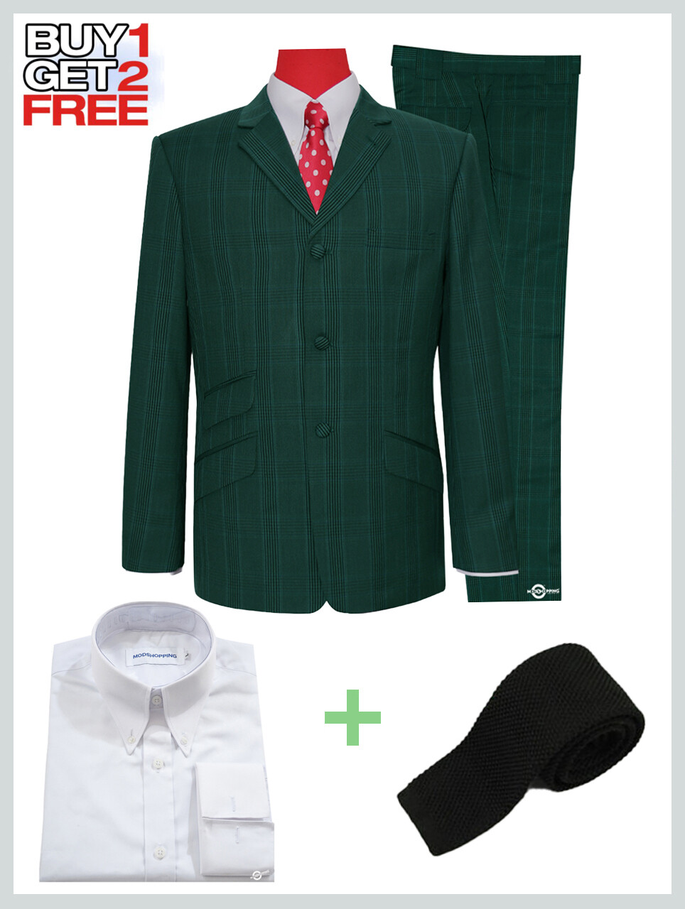 2 Piece Suit Package | Olive Green Prince Of Check Suit For Man