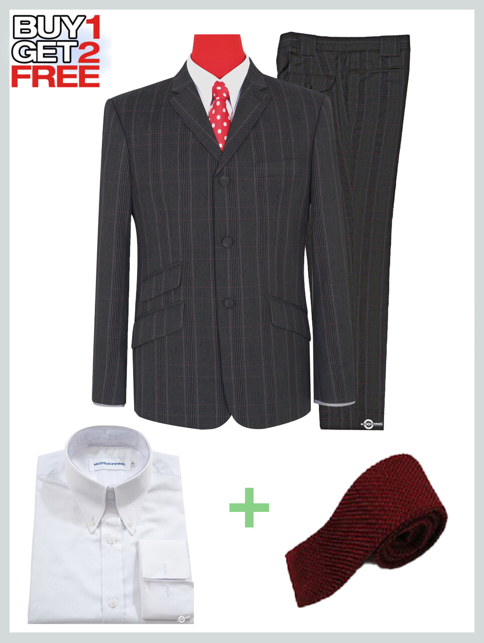 2 Piece Suit Package | Charcoal Grey Prince Of Check Suit For Man