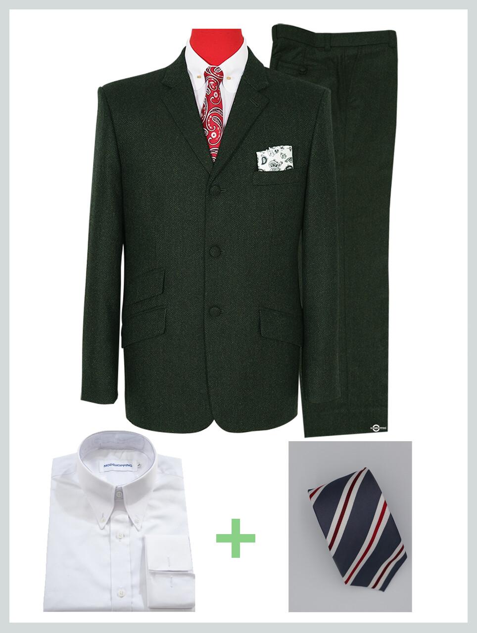 2 Piece Suit Package | Dark Green Tweed Mod Suit For Men