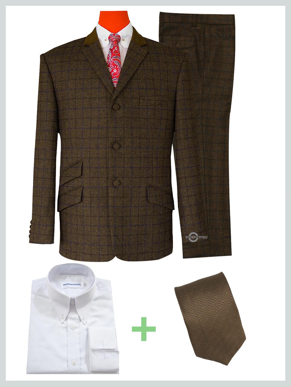 2 Piece Suit Package | Coffee Brown Tweed Stuning Shadow Check Suit.