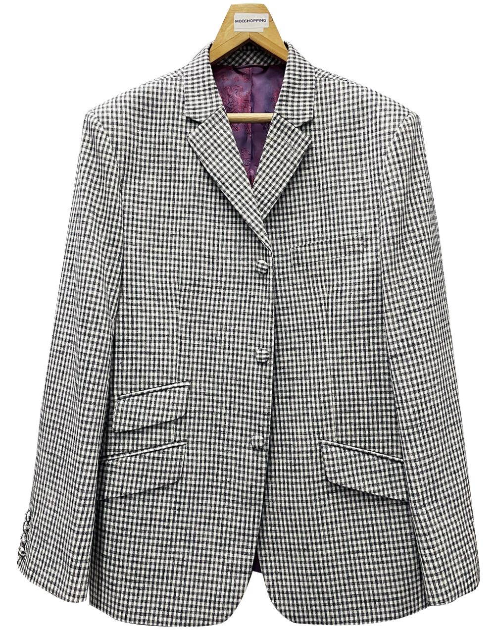 Men's Black & White Gingham Check Jacket