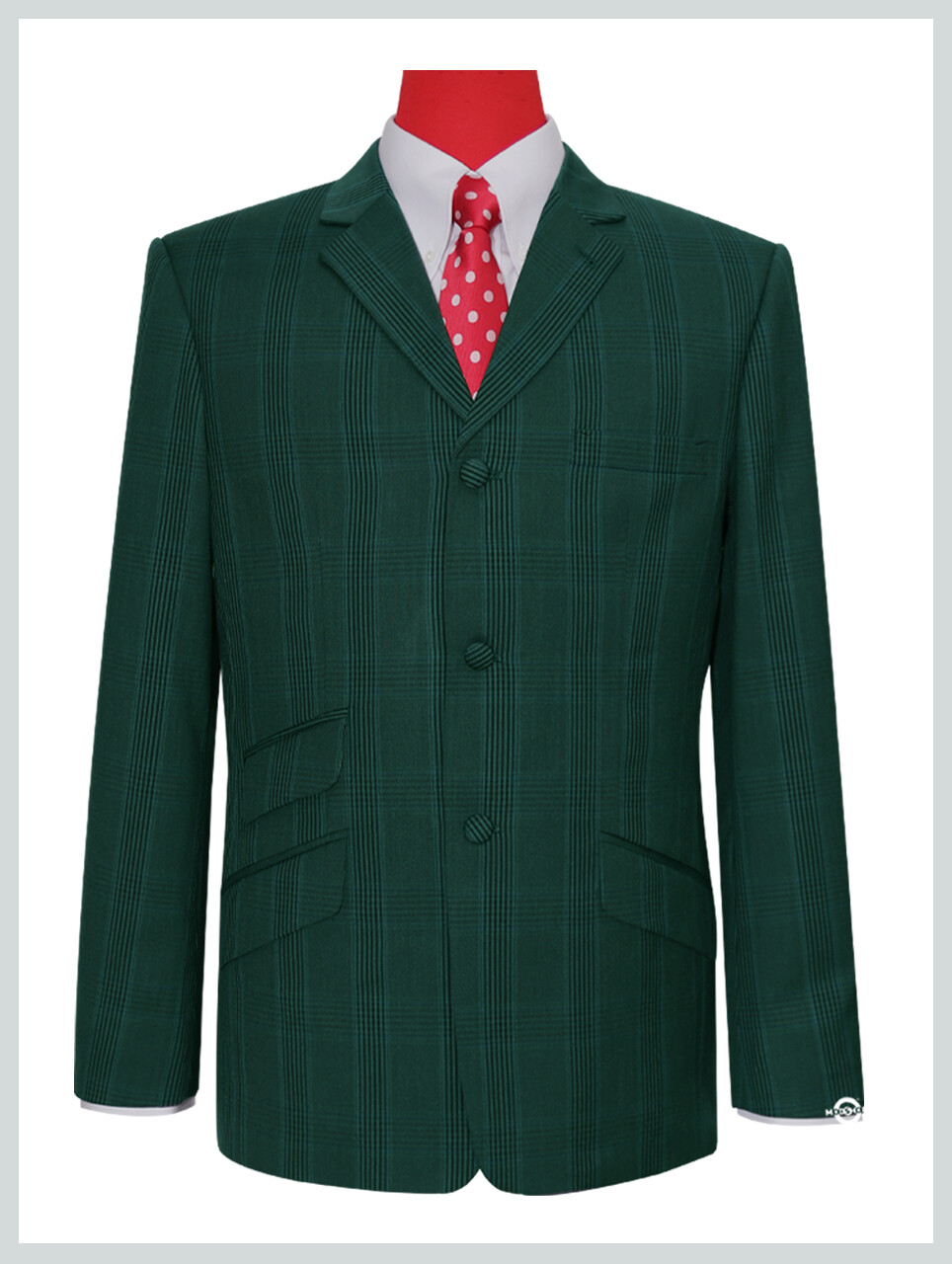 Olive Green Prince Of Wales Check Blazer Jacket