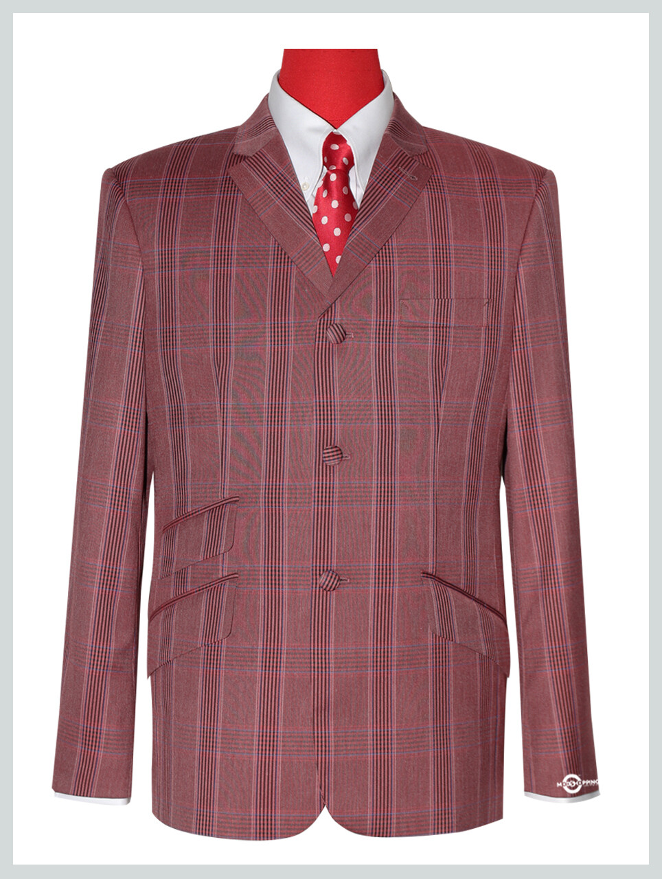 Brick Red Prince Of Wales Check Blazer Jacket