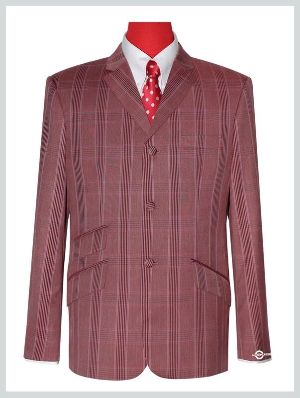 Brick Red Prince Of Wales Check Blazer Jacket