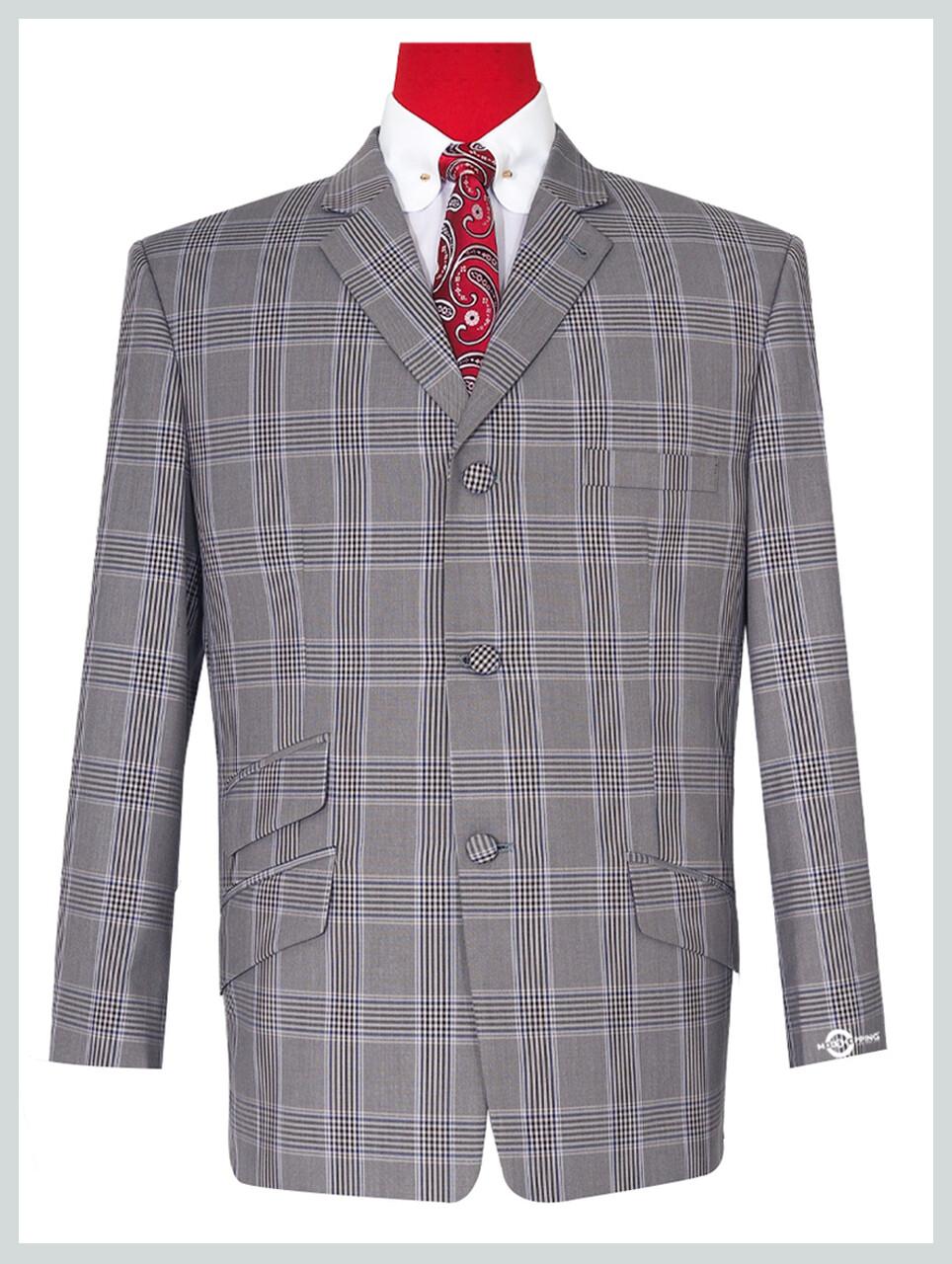 Light Grey Prince Of Wales Check Blazer Jacket