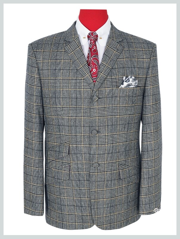 Grey Prince of Wales Check Wool Jacket