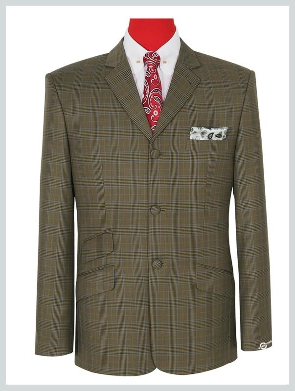 Dark Khaki Prince Of Wales Check Jacket