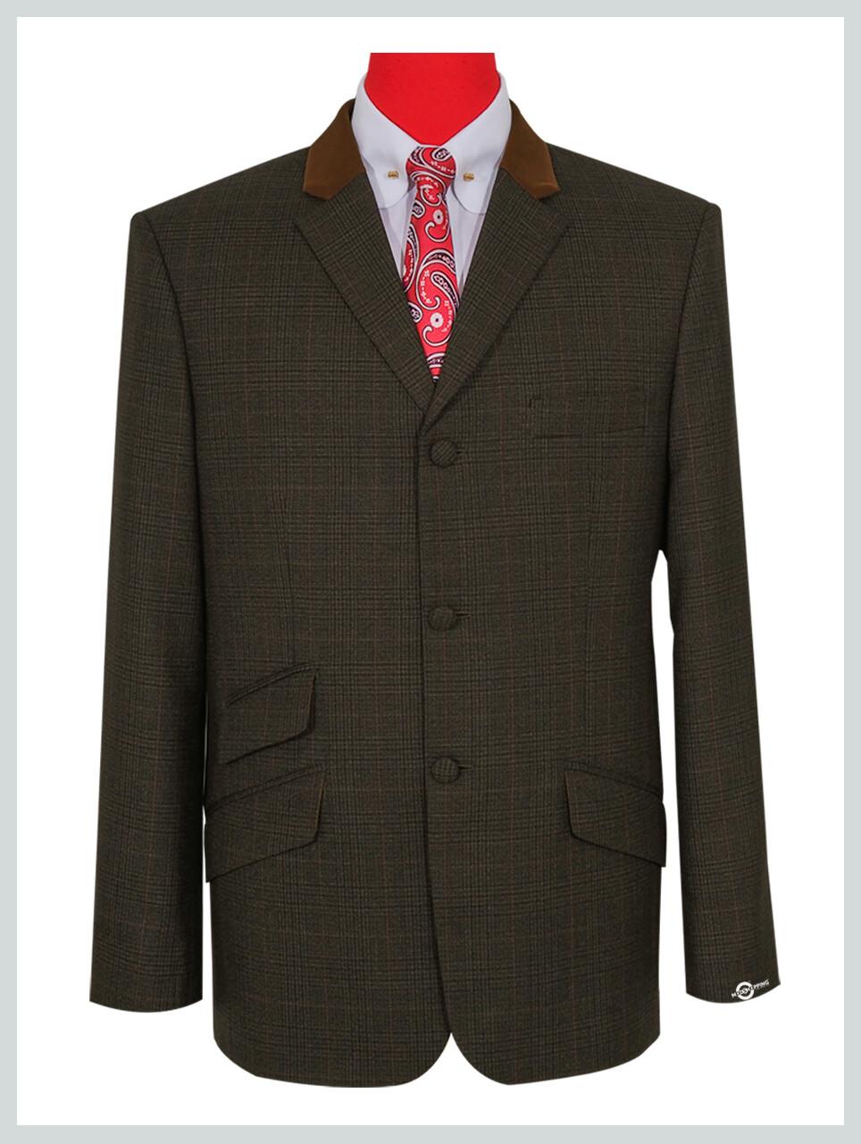 Dark Brown Tweed Glen Plaid Check Jacket