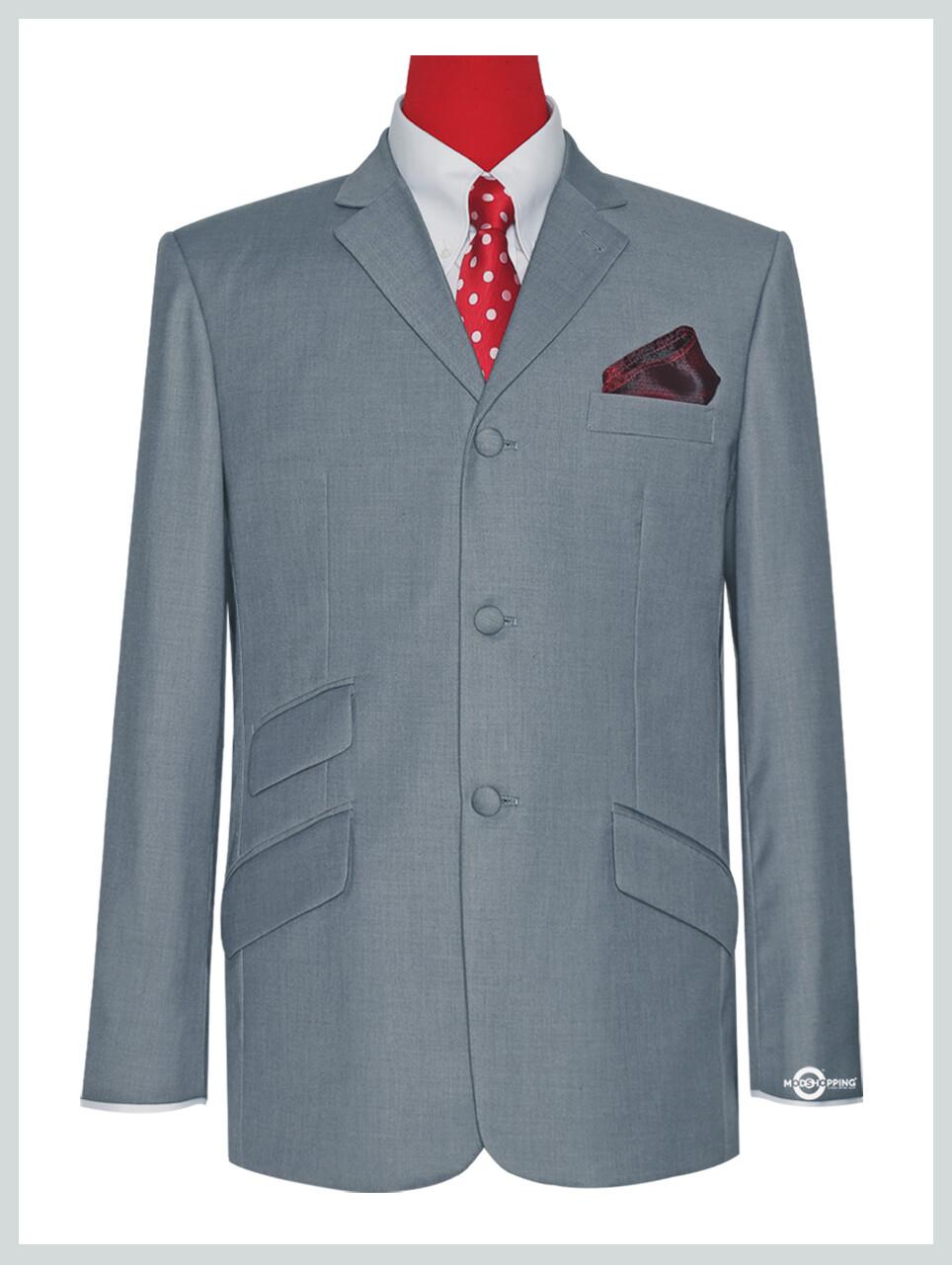 Men's Light Grey 3 Button Blazer Jacket.