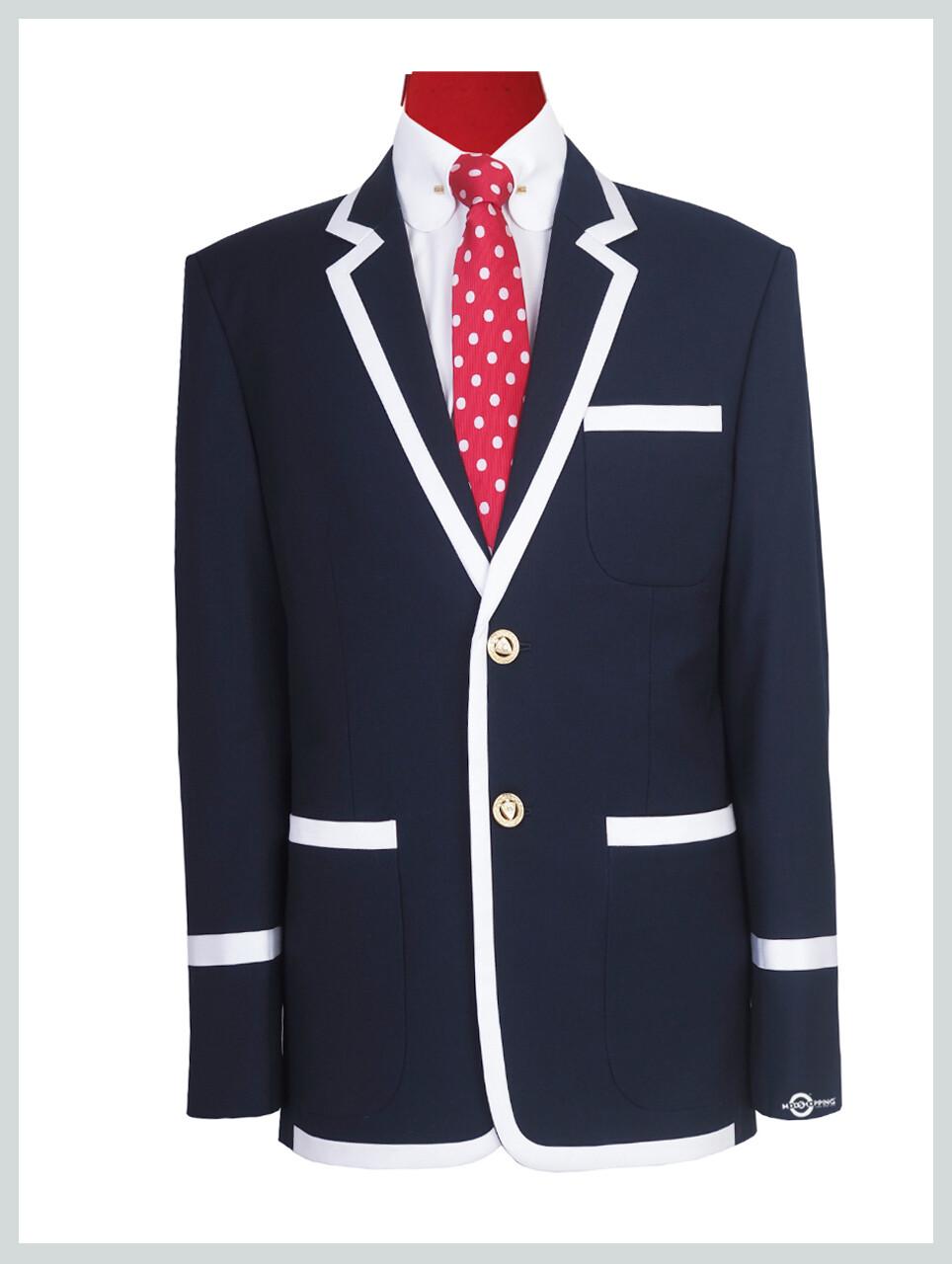 Navy Blue With White Trim Blazer Jacket