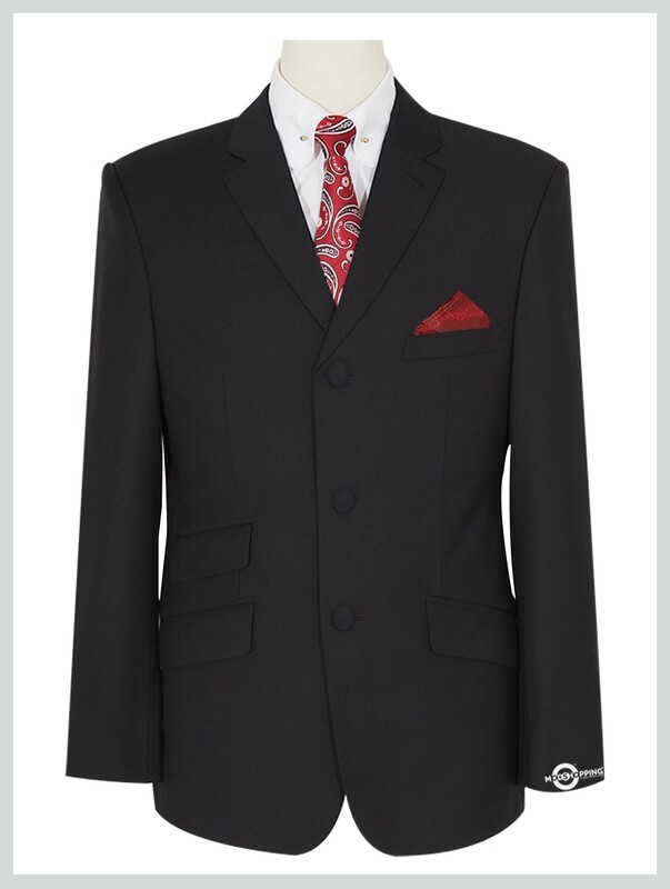Black Blazer | Tailored 3 Button Black Mod Blazer For Men