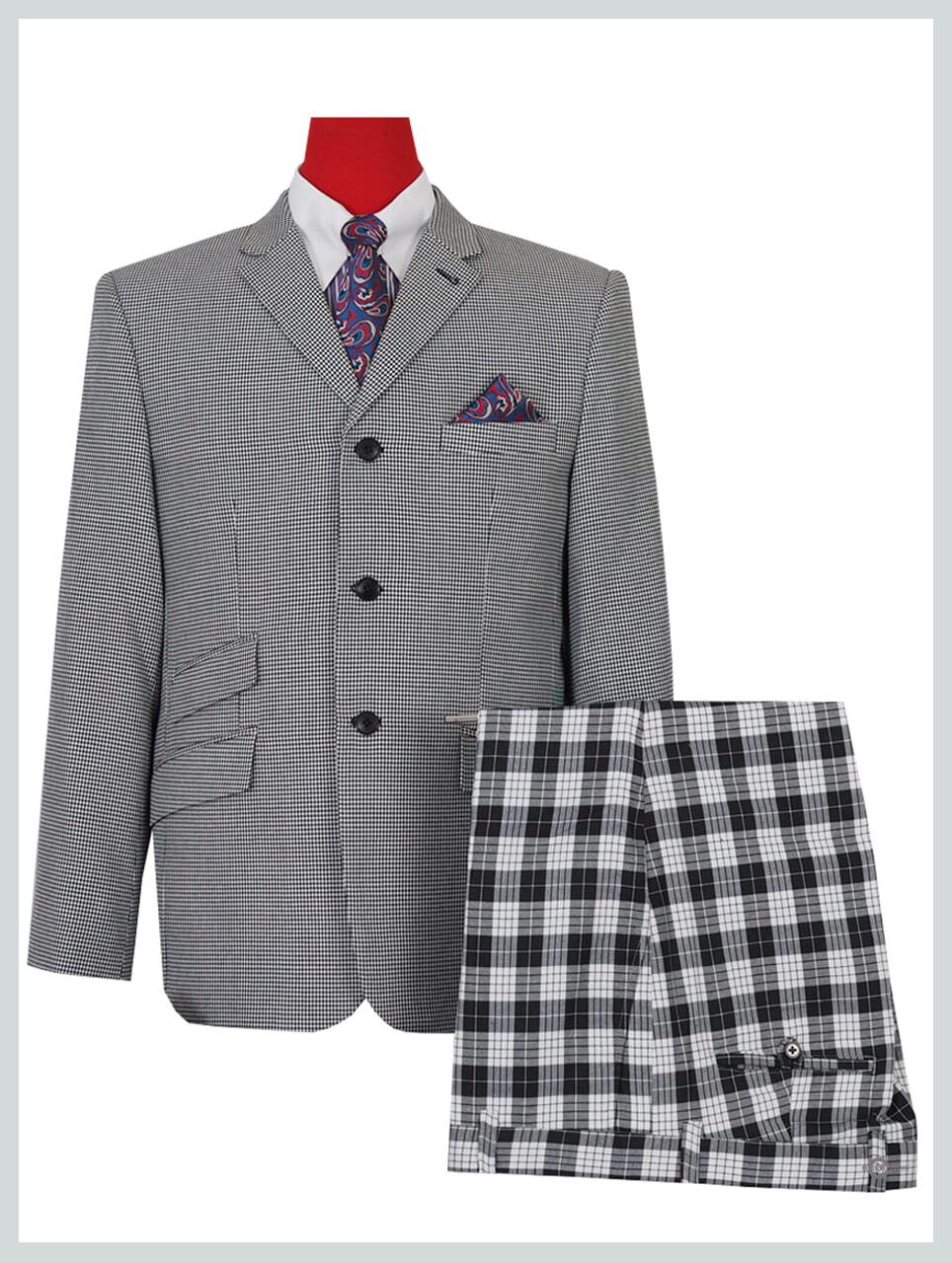 white & black small houndstooth classic mod blazer for men,60s vintage fashion