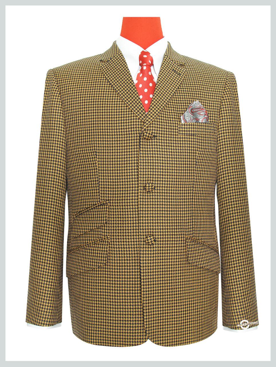 Retro Blazer Brown Houndstooth Check Vintage 60s Mod Blazer Jacket