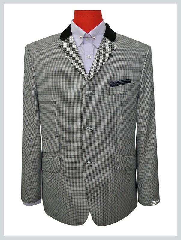 Classic Grey Houndstooth Check Mod Style Vintage Blazer Jacket