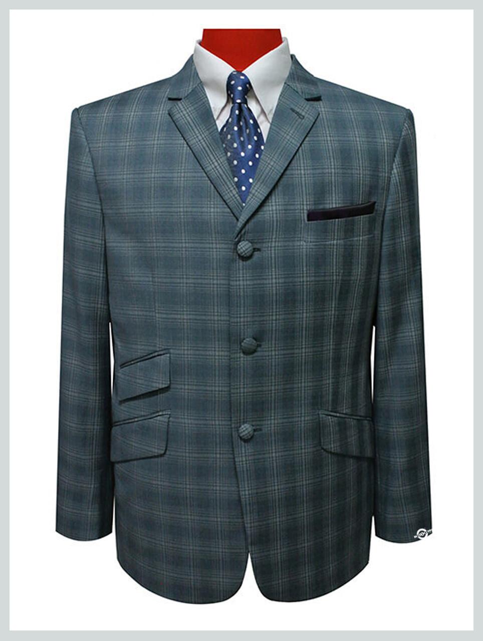 check blazer tailored 60s check 3 button ssea-green blazer jacket for men.