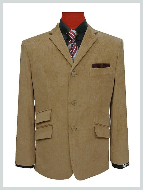 corduroy tweed blazer retro 60s mod style beige  jacket