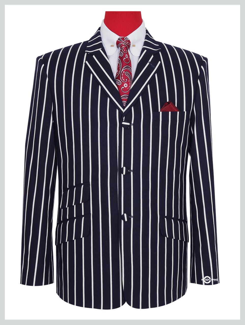Men's Dark Navy Blue Striped Boating Blazer Jacket