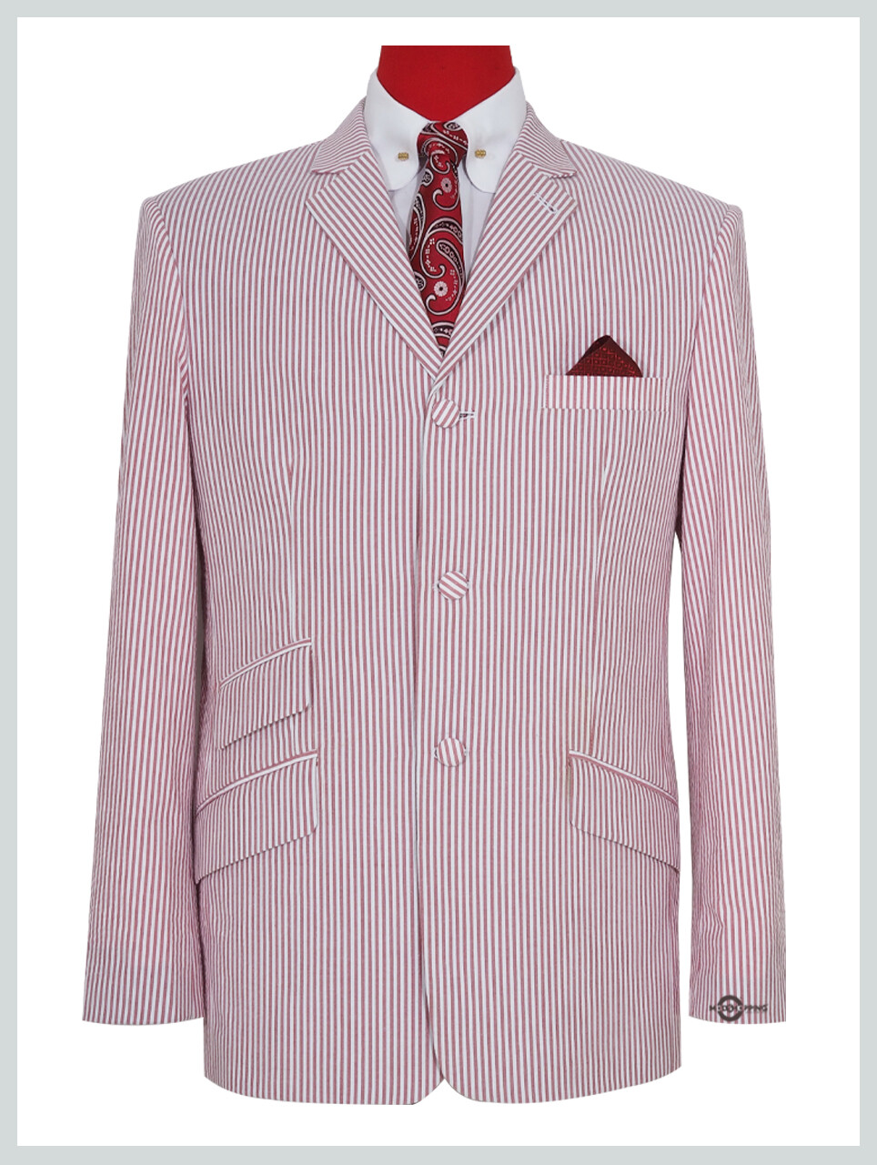 60s Mod Fashion Men Seersucker Pink Striped Jacket.