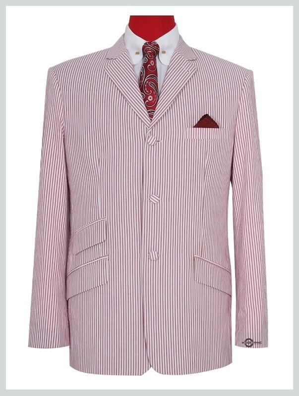 60s Mod Fashion Men Seersucker Pink Striped Jacket.