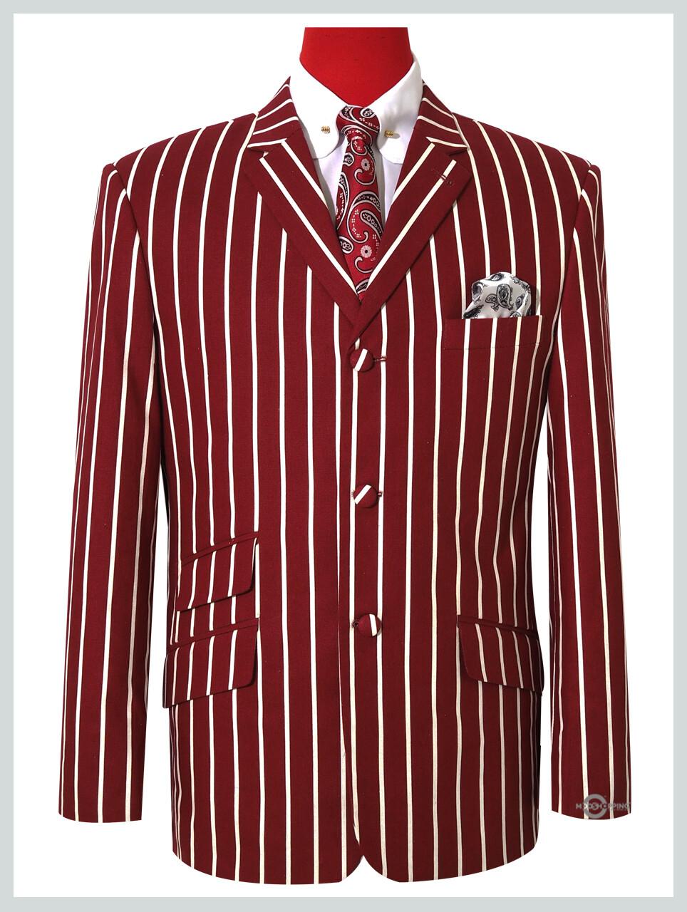 Burgundy Striped Blazer Jacket