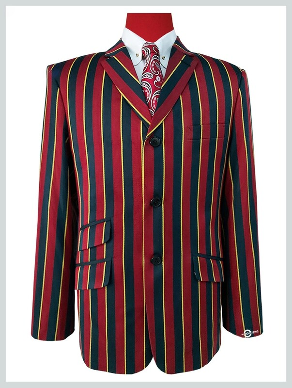 Maroon Black & Yellow stripe blazer | Maroon Black & Yellow 60s tailored For Man