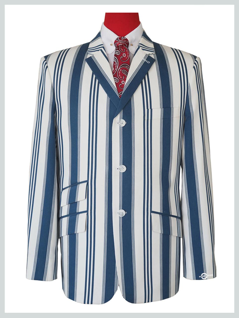 Blue striped white blazer 60s mod fashion tailored 3 buttons blazer jacket