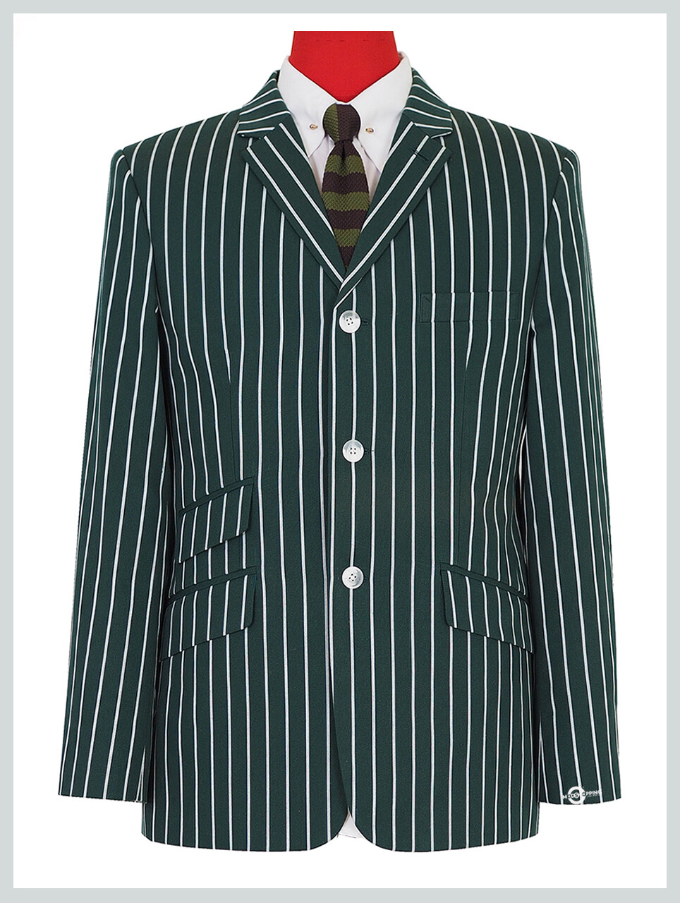 60s Mod Fashion Tailored 3 Button  Casual Olive Green Striped Blazer Jacket