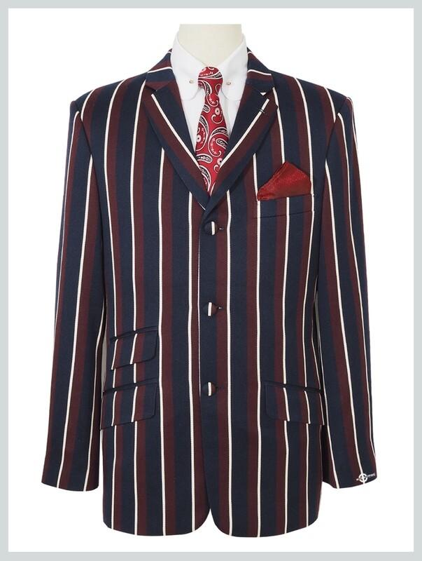 boating blazer| 1960s classic Navy Blue and Burgundy stripe blazer, tailored