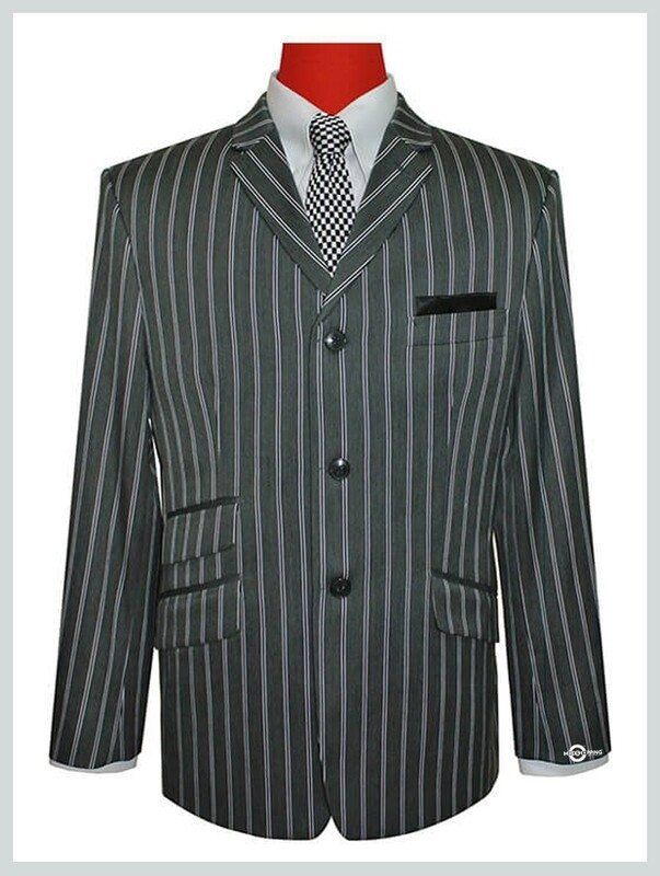 tailore made 3 button grey striped boating blazer for men