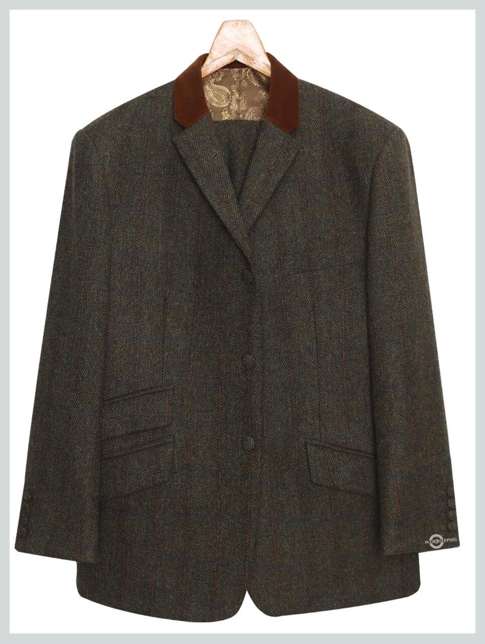 Mod Tweed | Army Green Herringbone Tweed Jacket For Men's