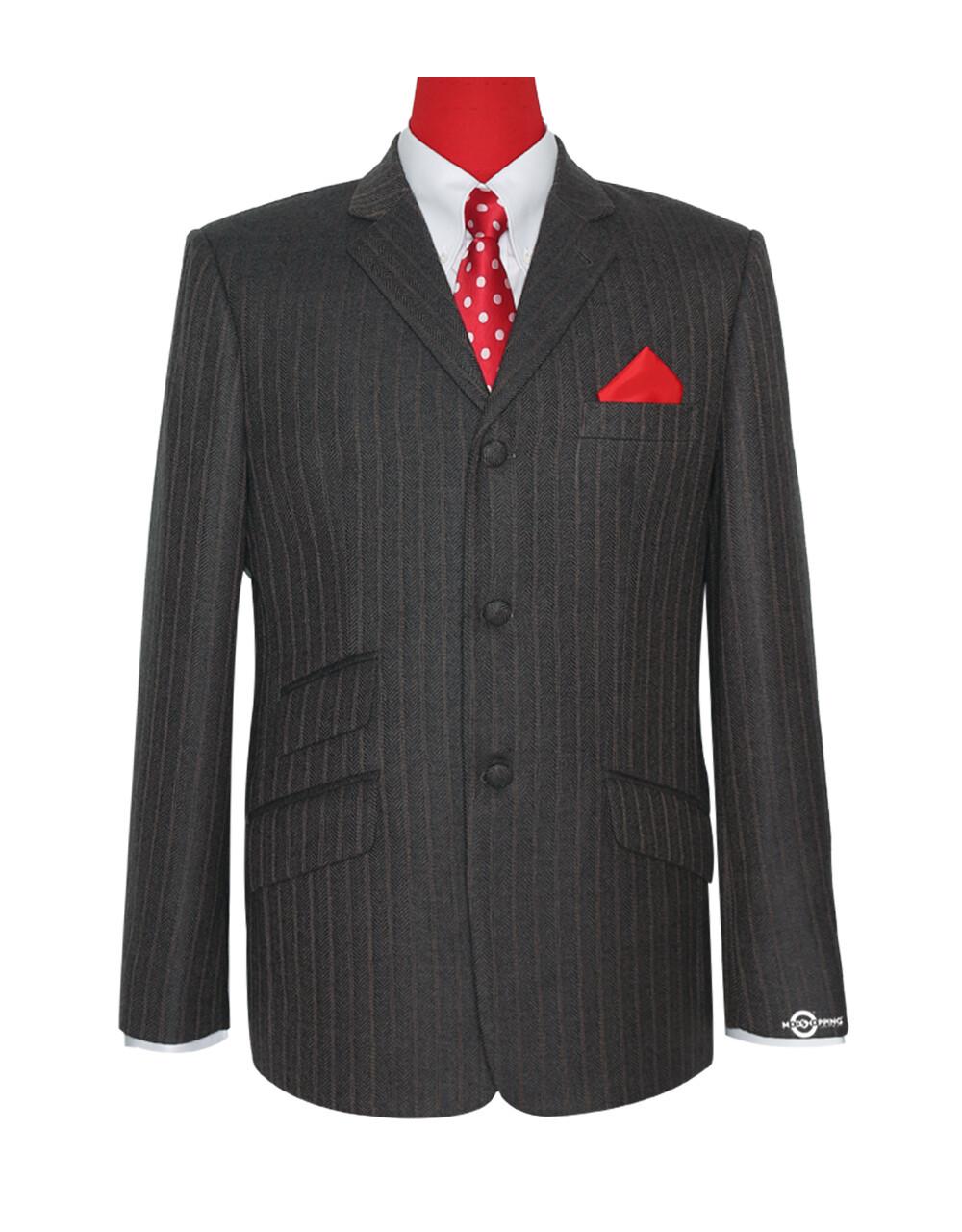 Mod 60'S Herring Bone Brown Grey Tweed Jacket For Men's