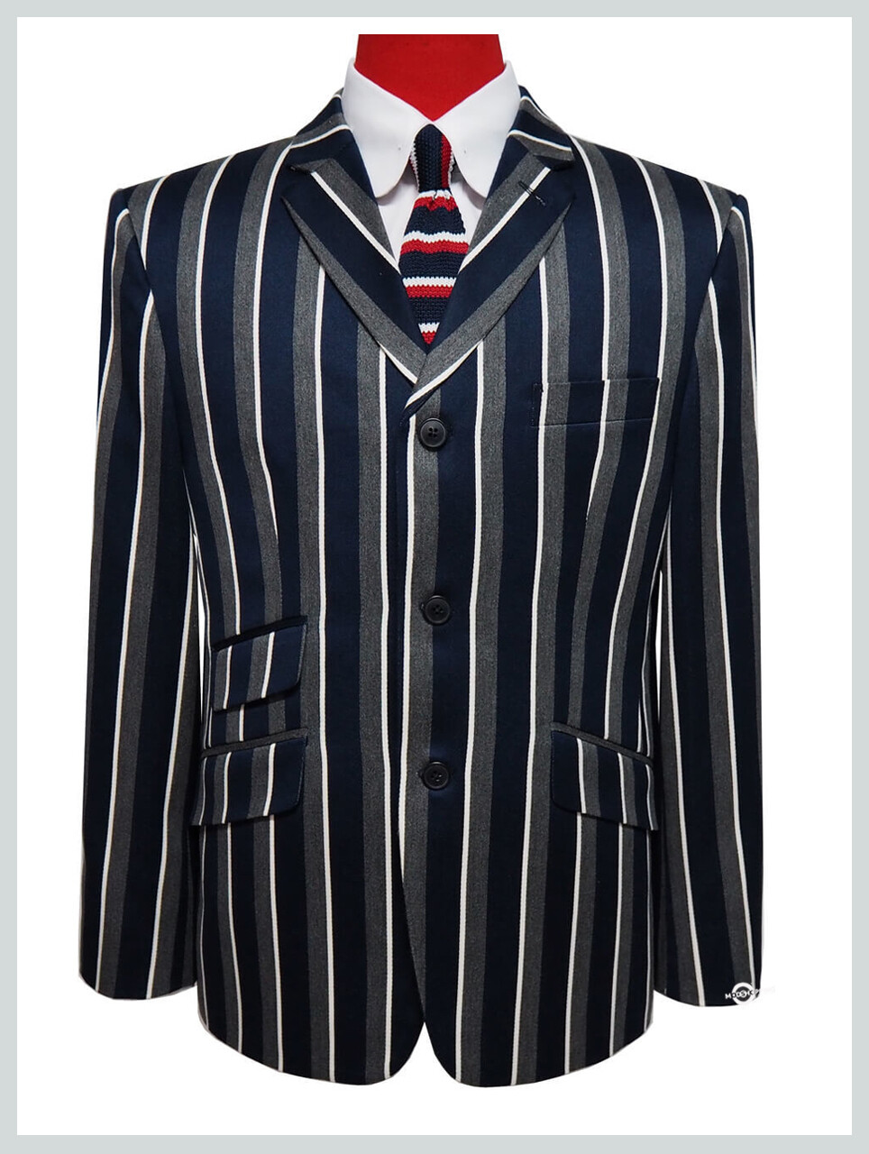 Boating Blazer | 60s Mod Navy Blue Stripe Retro Boating Blazer For Men