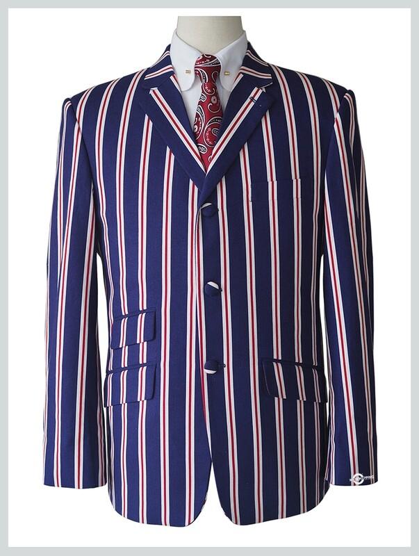 boating blazer red stripe in royal blue