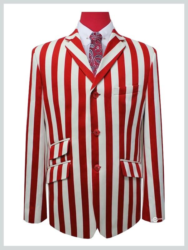 white & red stripe boating blazer  3 button mod 60s clothing