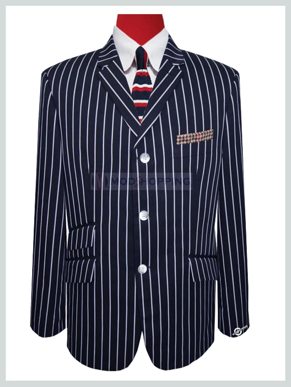 3 button mod navy blue tailored stripe boating blazer 60s mod fashion