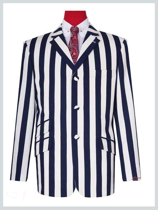 Mod Retro 60s Navy Blue Stripe Boating Blazer Jacket
