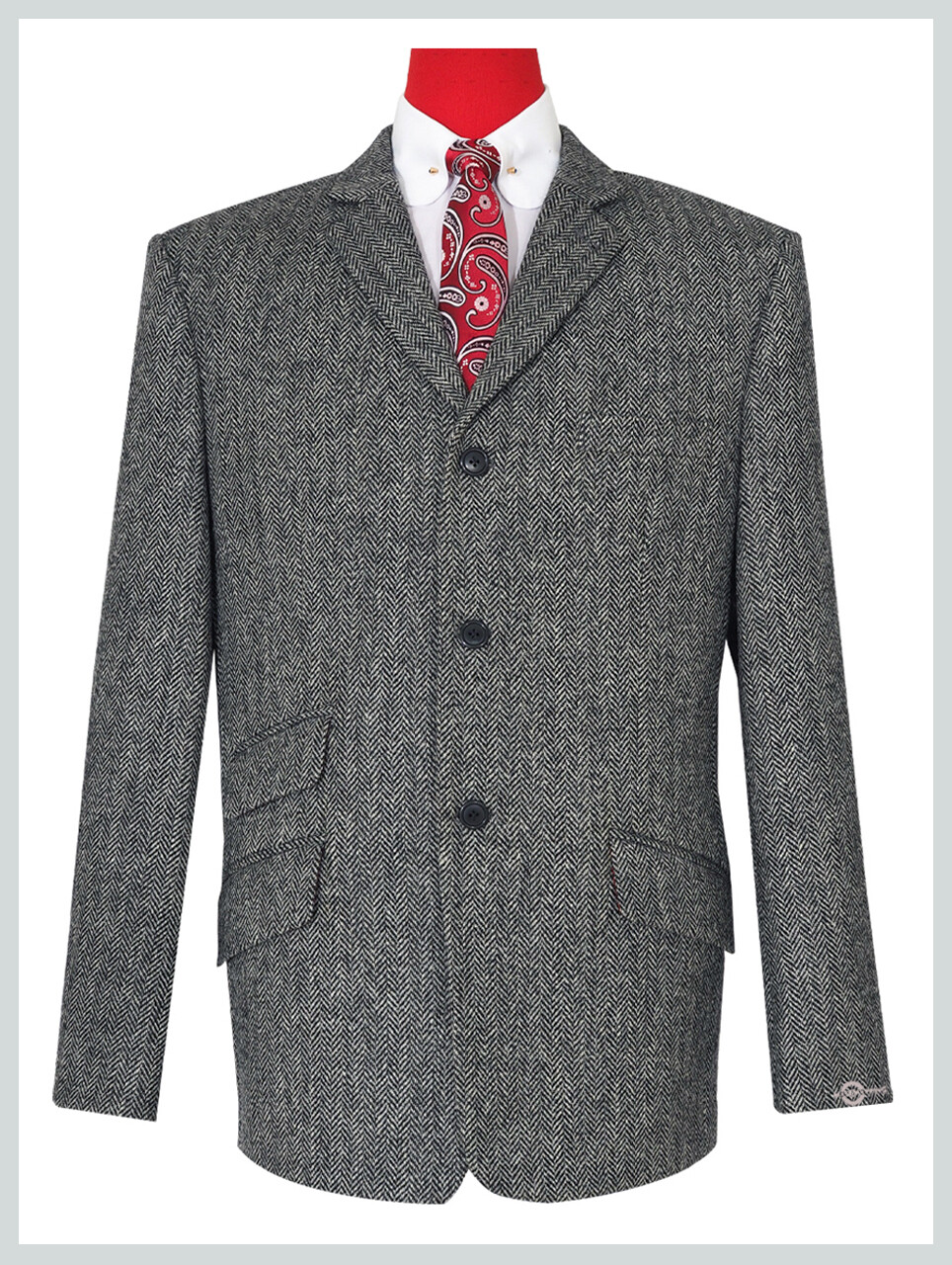 Grey Herringbone Tweed Jacket For Man