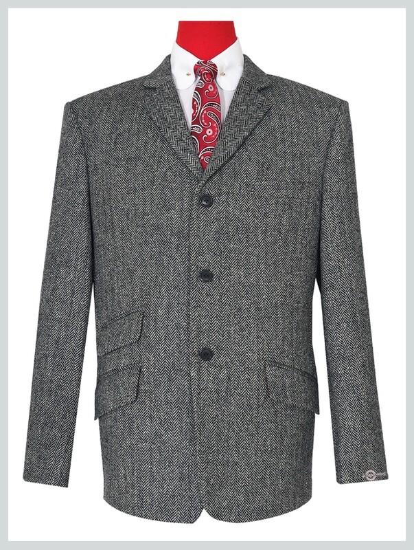 Grey Herringbone Tweed Jacket For Man